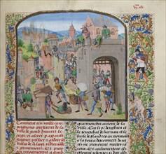 Pillage the city of Grammont, ca 1470-1475. Creator: Liédet, Loyset
