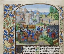 Richard II meets the rebels on 14 June 1381, ca 1470-1475. Creator: Liédet, Loyset