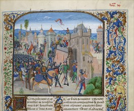 Siege of Ghent by Louis II of Male, ca 1470-1475. Creator: Liédet, Loyset