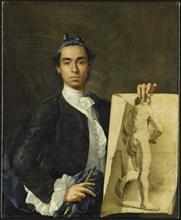 Self-portrait Holding an Academic Study, 1746. Creator: Meléndez, Luis Egidio
