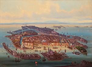 Aerial view of Venice, 1867. Creator: Rieger, Alberto