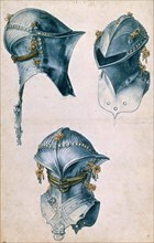 Three Views of a Jousting Helmet, c. 1500. Creator: Dürer, Albrecht