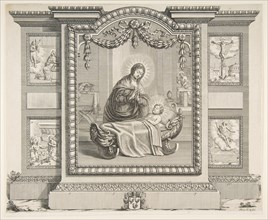 The Nativity with Scenes of The Annunciation, The Adoration of the Shepherds, The Cruci..., 1620-76. Creator: Abraham Bosse.