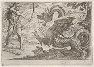 Hercules and the Serpent Ladon: Hercules draws his bow, the rearing serpent appears in pro..., 1608. Creator: Antonio Tempesta.