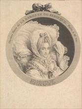 Portrait of La Baronne de Rebecque, 1780. Creator: Augustin de Saint-Aubin.