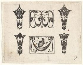 Blackwork Print with Two Horizontal Panels and Four Bezels, ca. 1620. Creator: Claes Jansz Visscher.