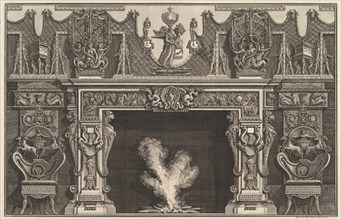 Bird in shell at the center of the lintel, with a frieze of trophies, surmounted by an..., 1769