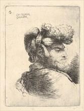 Man in profile facing right, wearing a fur hat, from series of 'Small Heads in Or..., ca. 1645-1650. Creator: Giovanni Benedetto Castiglione.
