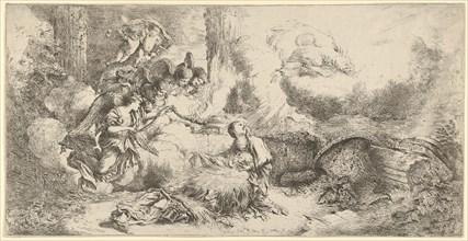 Nativity with God the Father and angels, ca. 1647-50. Creator: Giovanni Benedetto Castiglione.