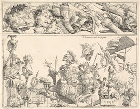 Roman arms, standards, and trophies, a composition divided into two horizontal bands, 1774. Creator: Giovanni Battista Tiepolo.