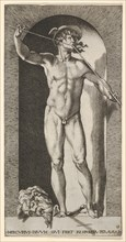 Plate 14: Mercury standing in a niche playing his pipes, with the severed head of an old m..., 1526. Creator: Giovanni Jacopo Caraglio.