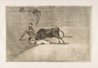 Plate 33 from the 'Tauromaquia': The unlucky death of Pepe Illo in the ring at Madrid., 1816. Creator: Francisco Goya.