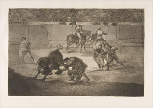 Plate 29 of the 'Tauromaquia': Pepe Illo making the pass of the 'recorte'., 1816. Creator: Francisco Goya.