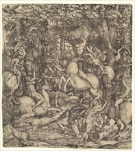 Battle between cavalry and infantry in a wood, 16th century. Creator: Hieronymus Hopfer.