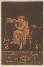 Jeune femme drapée, assise, arrosant une plante
