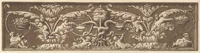 Ornamental frieze with putti and intertwined snakes, from Recueil de Différentes Compositi..., 1784. Creator: Jean Jacques Lagrenee.