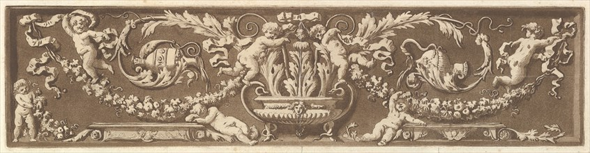 Ornamental frieze with putti, acanthus leaves, and garlands of fruit, from Recueil de Diff..., 1784. Creator: Jean Jacques Lagrenee.