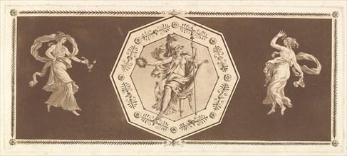 Minerve assisse dans un octagone décoratif, avec une figure à gauche et à doroite