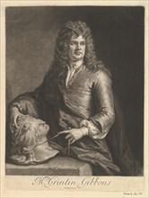 Portrait of Grinling Gibbons, 1690. Creator: John Smith.