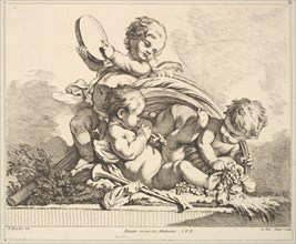Three Cupids, Two Playing Music, One Holding Palm Leaves. Creator: Louis Felix de la Rue.