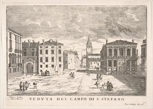 Plate 95: View of Campo Santo Stefano with the Loredan Palace and Morosini Palace, Venice..., 1703. Creator: Luca Carlevarijs.
