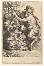 Satyr with Grapes and Two Tigers, 1614-1679. Creator: Lucas Vorsterman II.