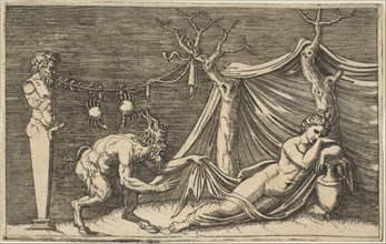 A satyr discovering a sleeping woman; two crabs hanging from a rope which is strung..., ca. 1515-27. Creator: Marco Dente.
