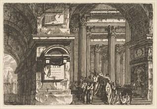 Funerary Scene in a Temple, ca. 1760. Creator: Pierre Moreau.