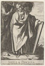 Plate 9: the Phrygian Sibyl holding the top of a tablet with her left hand and pointing wi..., 1609. Creator: Raffaello Schiaminossi.