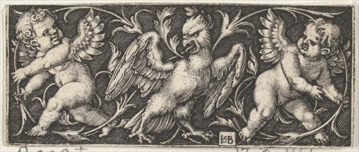 Horizontal Panel with an Eagle Flanked by Two Genii, 1544. Creator: Sebald Beham.