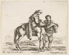Plate 6: a peasant on horseback in profile facing the right, holding a basket and t..., ca. 1644-47. Creator: Stefano della Bella.