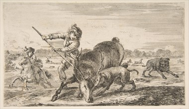 Stag at bay, from 'Animal hunts'