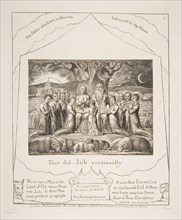 Job and His Family, from Illustrations of the Book of Job, 1825-26. Creator: William Blake.