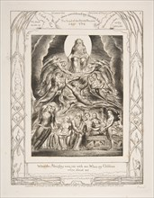 """Satan Before the Throne of God, from """"Illustrations of the Book of Job"""", 1825-26. Creator: William Blake."""