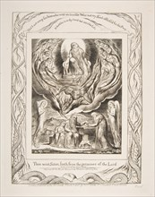 Satan Going Forth from the Presence of the Lord, from Illustrations of the Book of Job, 1825-26. Creator: William Blake.