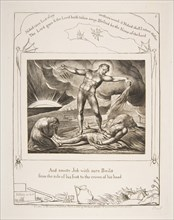 Satan Smiting Job with Boils, from Illustrations of the Book of Job, 1825-26. Creator: William Blake.