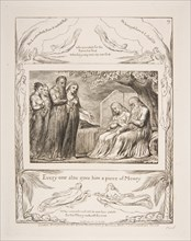 Job accepting Charity, from Illustrations of the Book of Job, 1825-26. Creator: William Blake.