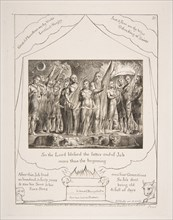 Job and his Wife restored to Prosperity, from Illustrations of the Book of Job, 1825-26. Creator: William Blake.