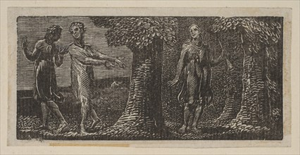 Colinet Mocked by Two Boys, from Thornton's Pastorals of Virgil, 1821. Creator: William Blake.