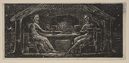 Thenot and Colinet Eat Their Evening Meal, from Thornton's Pastorals of Virgil, 1821. Creator: William Blake.