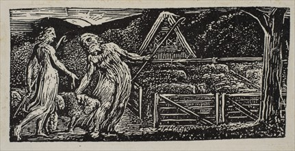 Thenot and Colinet Lead Their Flocks Together, from Thornton's Pastorals of Virgil, 1821. Creator: William Blake.