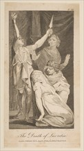 The Death of Lucretia, from Allen's New and Impartial Roman History, 1797. Creator: William Blake.