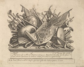 A Stand of Arms, Musical Instruments, etc., March 1749-50. Creator: William Hogarth.