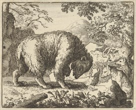 Renard Promises the Bear to Take Him to a Place Where He Will Find Honey. From Hendrick van Alcmar's Renard The Fox