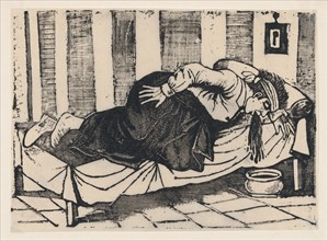 A man leaning over the side of a bed vomiting, from a broadside entitled 'Death of Aurelio Caballero due to yellow fever in Veracruz', 1892.