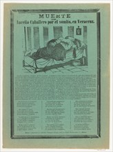 Broadside relating to Aurelio Cabellero who died from vomiting, ca. 1890-1900.