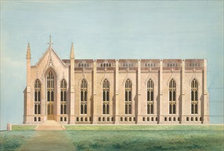 Design for the North Wing of the Library and Chapel Building at the University of Michigan, Ann Arbor, 1838-39.