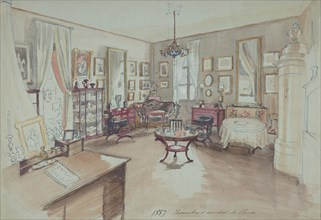 Drawing of an Interior: Chambre à coucher, 1857.