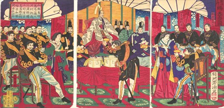 Illustration of the Honored Commanders, Receiving the Emperor's Gift Cup (Kunko no sho tenpai o tamau no zu), September, 1877.