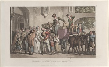 """Liberality to infirm beggars on leaving Yrvi, from """"Journal of Sentimental Travels in the Southern Provinces of France, Shortly Before the Revolution"""", 1821."""